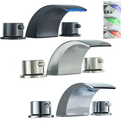 Widespread 8 Bathroom Basin Faucet Led Waterfall Tub Sink Mixer Tap Deck Mount