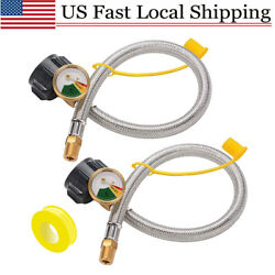2pack Male 1/4 Npt/qcc1 Rv Propane Pigtail Hoses With Gauge For Propane Tank