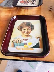 Vintage 1975 Norman Rockwell 2 The Butter Girl 1 Christmas Tray 3 Pieces