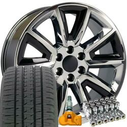 5696 Chrome And Black 20 Wheels Alenza Tires Tpms Lug Fit Chevy And Gmc Set