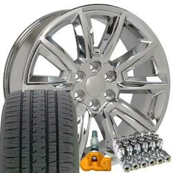 5696 Chrome 20 Wheels Alenza Tires Tpms Lug Fit Chevy And Gmc Set