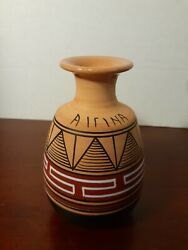 5 Vintage Hand Made In Greece Pottery Vase Geometric Airina Painted Souvenir