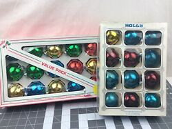 27 Vintage Holly Glass Christmas Bulbs Ornaments Multi Color 2 1/4 In Us Made