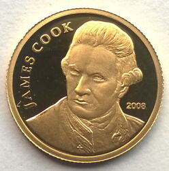 Cook 2008 Cpt.james Cook 10 Dollars Gold Coin,proof