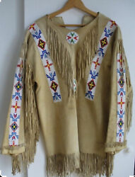 Native American Western Indian Suede Leather Jacket Fringes And Beaded War Shirt