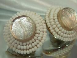 Vintage 50and039s White Seed Bead Majestic Foil Art Glass Round Clip Earrings 513s0