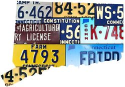 Connecticut License Plate Map Cut Sign, Constitution State License Plates Map