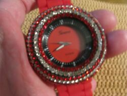 Geneva Platinum Red N Clear Bling Tone Runs Well Fits 6-7-1/2 Silicone Band