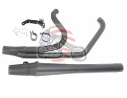 Black Thunderheader 2 Into 1 Exhaust Pipe Long 85-06 Harley Touring Heat Shields