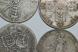 4 Great Britain Two Shillings Florin 1887-1889-1901-1910 Cull/fine Num5067