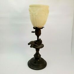 Vintage Lamp Spelter Sculpted Frog, Snail Shell And Beetle Lithophane Shade Resto