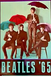 Beatles '65 Vintage Poster 1990's 23.5 X 34.5 Band Shot With Umbrellas