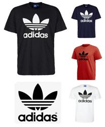 Adidas Mens T Shirt Trefoil Logo Short Sleeve Graphic Crew Neck Solid Brand New $18.95