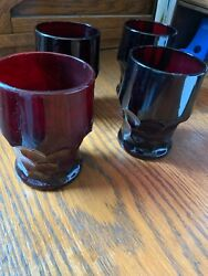 Vintage Set Of Four Pretty Ruby Red Honeycomb Glass Tumblers With Free Shipping