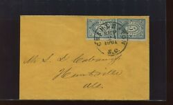 Confederate States 16x1 Charleston Pm Provisional Used Pair Of Stamps On Cover