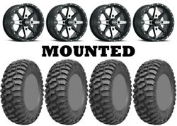 Kit 4 Ams M1 Evil Tires 32x10-14 On Itp Cyclone Matte Black Wheels Can