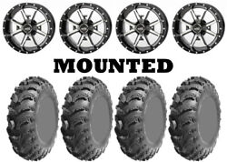 Kit 4 Ams Slingshot At Tires 25x8-12/25x10-12 On Frontline 556 Machined Irs
