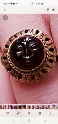 Rare Antique Carved Man In The Moon Garnet 14 Kt Yellow Gold Filigree Ring