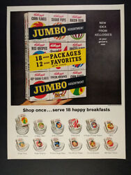 1963 Kellogg's Cereal Individual Boxes 18 Package Assortment Vintage Print Ad