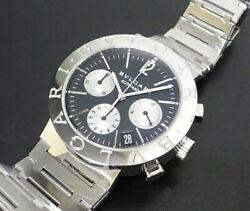 Bvlgari Chronograph Bb38ssch Black Dial Men's Size Automatic Stainless Steel