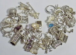 Vintage Sterling Silver Charm Bracelet 31 Charms Bird Cage, Duck Decoy,goodyear