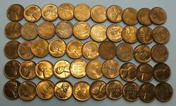 1938-d 1c Cent Lincoln Wheat Full Roll 50 Coins +tube Uncirculated Lg242