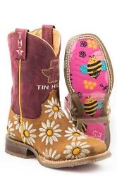 Tin Haul Co. Lil Blossom Bumblebee Sole Cowboy Boots Kids Childs Size 13 1 2 3