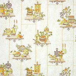 1960s Retro Kitchen Vintage Wallpaper Fruit Ivy And Knick Knacks Of Yellow Green