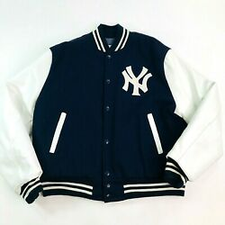 New York Yankees Sz L Pyramid Wool Letterman Jacket Blue White Button Up