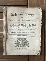 [french And Indian War -- Treaty Of Paris]. The Definitive Treaty ... 1763