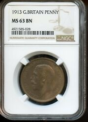 1913 Ngc Ms 63 Bn Mint State 63 Brown Great Britain Penny Fl169