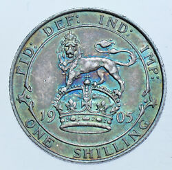 Very Rare Key Date 1905 Shilling British Silver Coin From Edward Vii Aef+