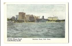 Old Advertising Postcard Zeno Good Chewing Gum Battery Park New York Undivided