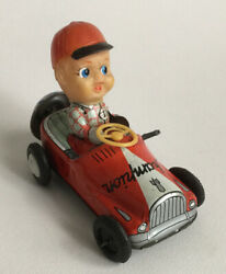 Vintage Kanto Champion Toy Tin Plate Wind Up Boy In Car Made In Japan 1960's