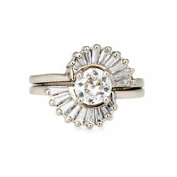 Vintage Diamond Engagement Ring 14k White Gold 0.67ct Old Mine Cut Jewelry