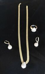 """Stunning Gold 16.5"""" Choker Diamond Drop Necklace And Matching Earrings And Ring Set"""
