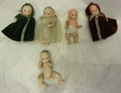 5 Vintage Bisque Signed JAPAN Jointed Doll Small Baby Dolls 2 w Velvet Cape