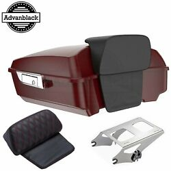 Advanblack Billiard Red Chopped Tour Pack Trunk Luggage For 97+ Harley Touring