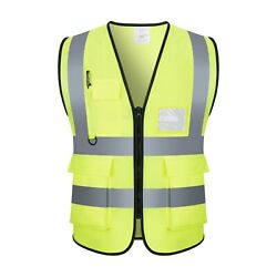 Safety Vest with High Visibility Reflective Stripes W Pockets 3 Colors