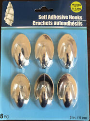 6 Pack Self Adhesive Bathroom Towel Wall Hanging Hooks Pack Hold 2lb Each Silver