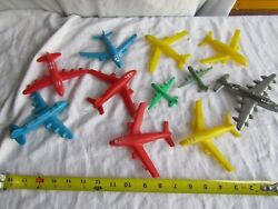 Vintage Toy Plastic Lot Planes Airplane Usaf Multiple Colors Military