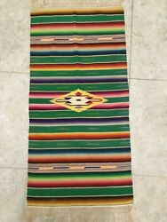 Southwest Vintage Or Antique Mexican Rug Shawl Blanket Colorful Textiles