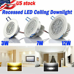 3w/7w/12w Led Ceiling Recessed Down Light Fixture Lamp Spot Light Driver Us