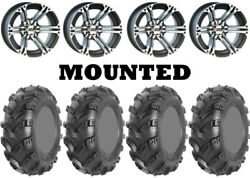Kit 4 Ams Swamp Fox Plus Tires 25x8-12/25x10-12 On Itp Ss212 Machined H700