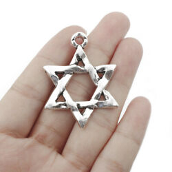 10pcs Antique Silver Star Of David Charms Pendants For Jewelry Making 3345mm