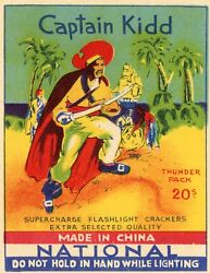 Capt. Kidd Chinese Firecracker Factory Box Vintage Label Reprint Pirate Poster