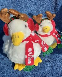 Aflac Duck Plush 2012 Nwt Lot 2 Antlers Xmas Scarf Tested Big Small 9 6