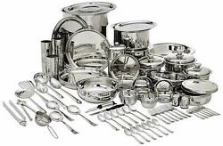 Stainless Steel Dlx Laser Etching Design 101 Pc Dinner Serving And Cooking Set