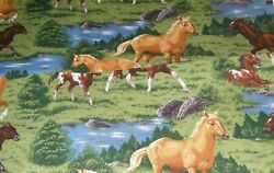 SALE NEW HORSES Fabric BTY HORSE PONY