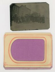 1870and039s-1880and039s Town W/ Snow Buildings And 28 People Tintype 3 9/16 X 2 7/16